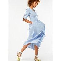 Monsoon Connor Seersucker Stripe Midi Dress - Blue