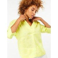 Monsoon Grace Linen T Shirt, Yellow, Size 14, Women