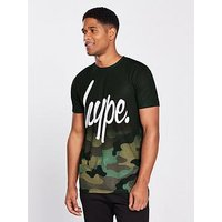 Hype Script Camo T Shirt, Multi, Size S, Men