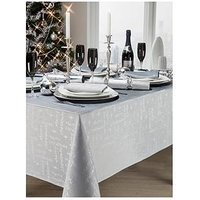Jacquard Metallic Christmas Words Napkins (4 Pack) - Silver