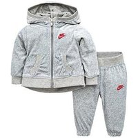 Nike Baby Girls Velour Jogger Set, Grey, Size 9 Months