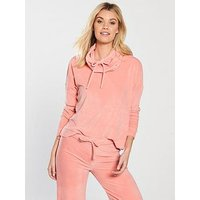 V by Very Jolene Funnel Neck Velour Pyjama Hoodie - Coral, Coral, Size 20-22, Women