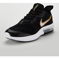 Nike Air Max Sequent 4 Junior Trainer, Black/Gold, Size 5.5