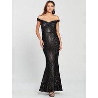 Little Mistress Bardot All Over Sequin Maxi Dress - Black , Black, Size 12, Women