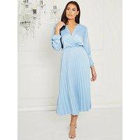Sistaglam Loves Jessica Woven Pleated Wrap Midi Dress - Blue, Blue, Size S, Women