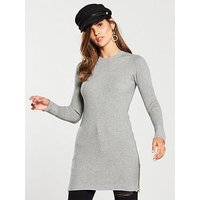 V by Very Zip Side Skinny Rib Longline Jumper - Grey, Grey Marl, Size 16, Women