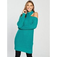 V by Very Roll Neck Deconstructed Collar Knit Dress - Pine Green, Pine Green, Size Xl, Women