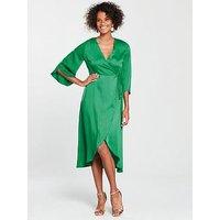 Vero Moda Scarlet Midi Wrap Dress, Green, Size M=10, Women