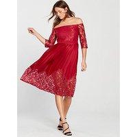 Little Mistress Bardot Lace Top Midi Dress - Crimson , Crimson, Size 12, Women