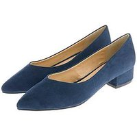 Accessorize Vicky V Pointed Suede Block Heels - Blue, Blue, Size 39, Women