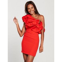 V By Very One Shoulder Ruffle Bodycon Dress - Red