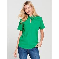 V by Very Twist Neck Top, Green, Size 24, Women