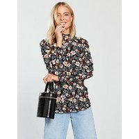 V by Very Printed Shirred Long Sleeve Top, Floral Print, Size 12, Women
