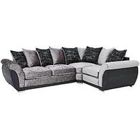 Product photograph showing Alexa Fabric And Faux Leather Right Hand Scatter Back Corner Group Sofa