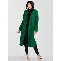 Michelle Keegan Double Breasted Formal Coat - Green, Green, Size 16, Women
