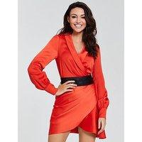 Michelle Keegan Satin Cuffed Wrap Dress - Orange, Orange, Size 12, Women