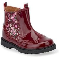 Start-rite Chelsea Floral Girls Boot, Wine Patent, Size 8 Younger