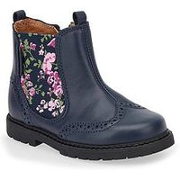Start-rite Chelsea Floral Girls Boot, Navy, Size 10.5 Younger