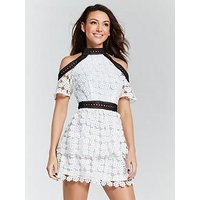 Michelle Keegan Cold Shoulder Lace Dress - Monochrome , Mono, Size 14, Women