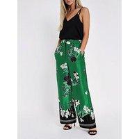 RI Petite Ri Petite Floral Print Wide Leg Trouser - Green, Green, Size 10, Women