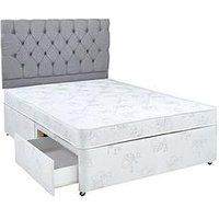 Product photograph showing Airsprung New Victoria Essentials Quilt Divan With Storage Options - White