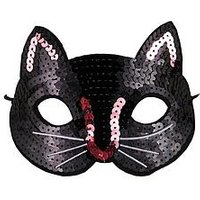 Mini V by Very Girls Halloween Sequin Cat Mask, One Colour
