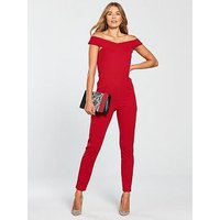 AX Paris Cross Front Jumpsuit, Red, Size 10, Women