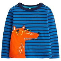 Joules Toddler Boys Jack Stripe Fox T-shirt, Blue, Size 5 Years