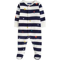 Joules Baby Boys Cosmo Stripe Velour Babygrow, Multi, Size 6-9 Months