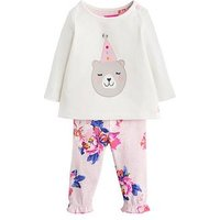 Joules Baby Girls Poppy Bear Applique Outfit, Cream, Size 6-9 Months