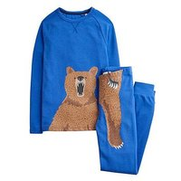 Joules Boys Kipwell Bear Pyjama, Blue, Size Age: 3 Years