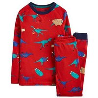 Joules Boys Kipwell All Over Print Dino Pyjama, Red, Size Age: 2 Years