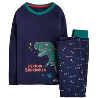 Joules Boys Snooze Glow In The Dark Dino Pyjama, Navy, Size Age: 9-10 Years