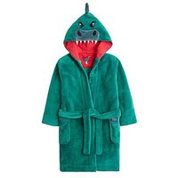 Joules Boys Mark Dino Dressing Gown, Green, Size 11-12 Years