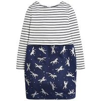 Joules Girls Unicorn Cocoon Dress, Navy, Size 7-8 Years, Women