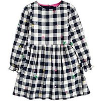 Joules Girls Rowena Woven Gingham Dress, Navy, Size 11-12 Years, Women