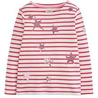 Joules Girls Harbour Luxe Sequin Long Sleeve T-shirt, Pink, Size Age: 9-10 Years, Women