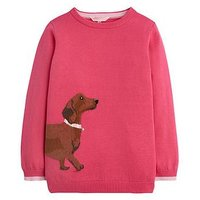 Joules Girls Meryl Dog Jumper, Pink, Size Age: 7-8 Years, Women