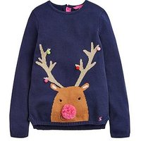 Joules Girls Festive Merl Jumper, Navy, Size Age: 11-12 Years, Women