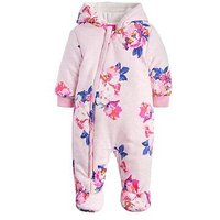 Joules Baby Girls Snug Wadded Pramsuit, Pink, Size 0-3 Months