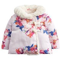 Joules Baby Girls Fleecey Wrap Over Padded Jacket, Pink, Size 3-6 Months