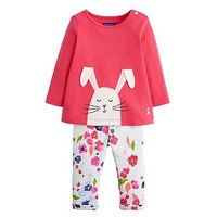 Joules Baby Girls Olivia Bunny Applique Outfit, Pink, Size 12-18 Months