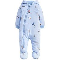 Joules Baby Boys Snug Printed Jersey Pramsuit, Sky Blue, Size 3-6 Months