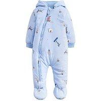 Joules Baby Boys Snug Printed Jersey Pramsuit, Sky Blue, Size Newborn