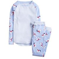 Joules Girls Sleepwell Jersey Unicorn Pyjama Set, Sky Blue, Size Age: 1 Year, Women