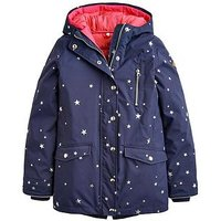 Joules Girls Parka 3 In 1 Hooded Coat - Navy, Navy, Size 6 Years, Women