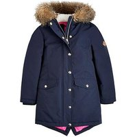 Joules Girls Willow Faux Fur Hood Parka, Navy, Size 5 Years, Women