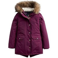 Joules Girls Willow Faux Fur Hood Parka, Burgundy, Size 7-8 Years, Women