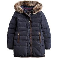 Joules Girls Blisworth Faux Fur Hood Padded Coat, Navy, Size 7-8 Years, Women