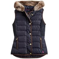 Joules Girls Alanis Faux Fur Hooded Gilet, Navy, Size 3 Years, Women
